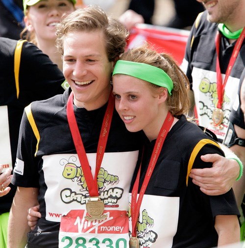 Beatrice and her boyfriend Dave Clark after finishing the London marathon in 2010.