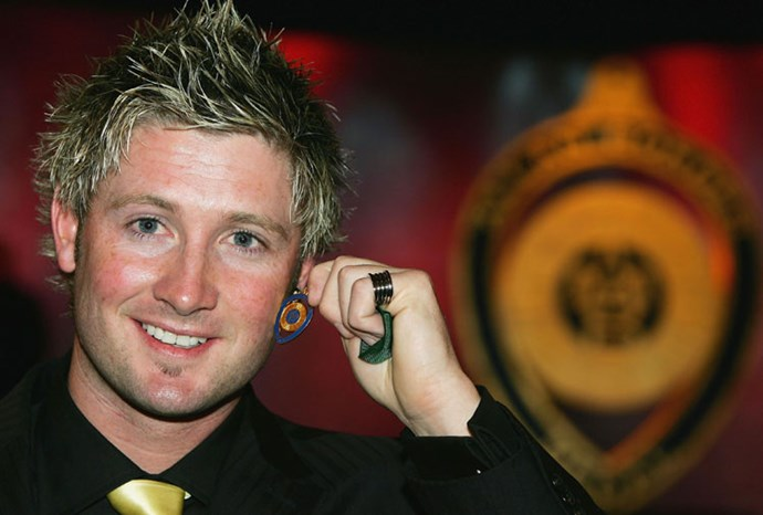 Michael with his Allan Border medal in 2005.