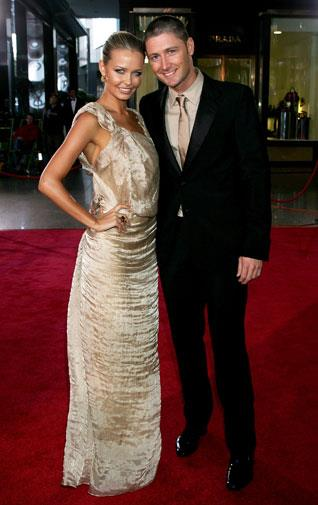 Michael with Lara Bingle in 2008. They ended their engagement in 2010.