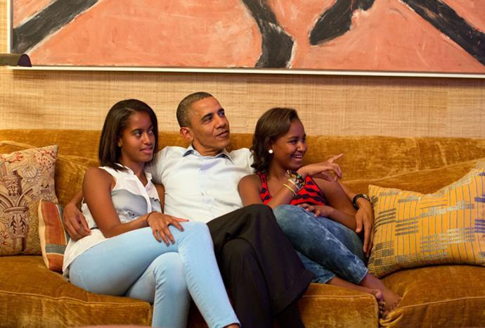 Barack, Sasha and Malia at the Democratic National Convention in September.