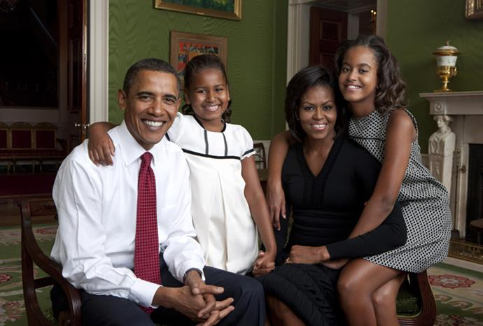 The official Obama family portrait in July 2009.
