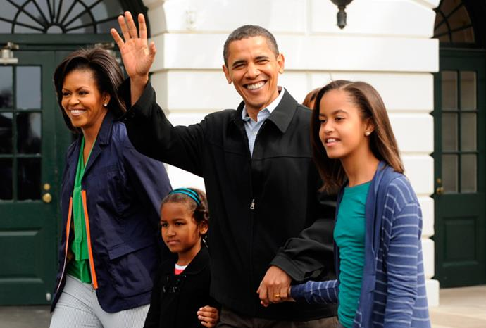 The Obamas at the White House Easter egg hunt in April 2009.