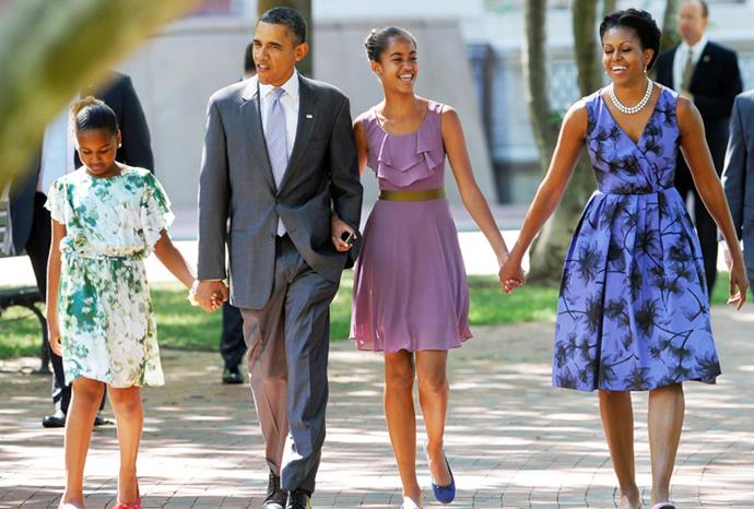 The First Family on their way to church in Washington DC in July 2011.