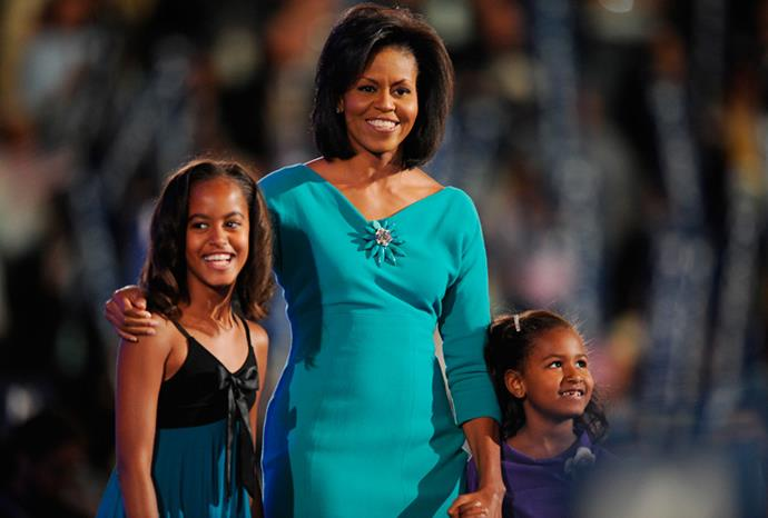 Michelle, Malia and Sasha in August 2008.