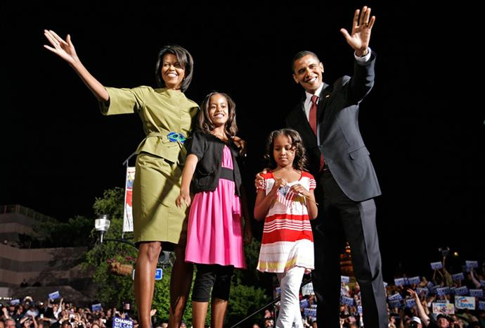 The Obamas at a political rally in May 2008.