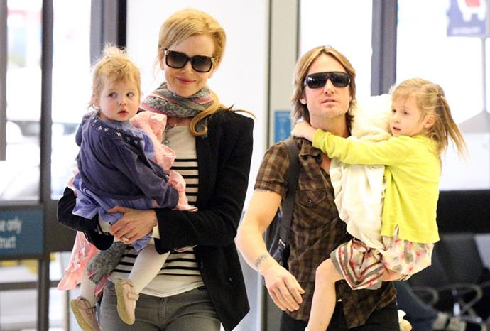 The Kidman Urban clan flying back to the US from Australia in June 2012.