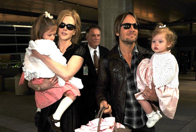 The family arriving in LA in February 2012.