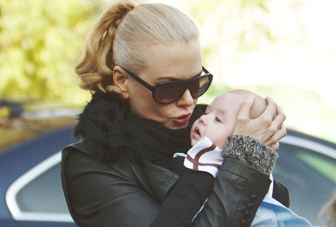 Nicole kisses baby Sunday in Paris in December 2008.