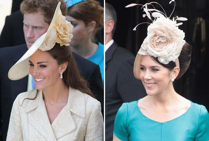Kate and Mary show off their similar taste in hats earlier this year.