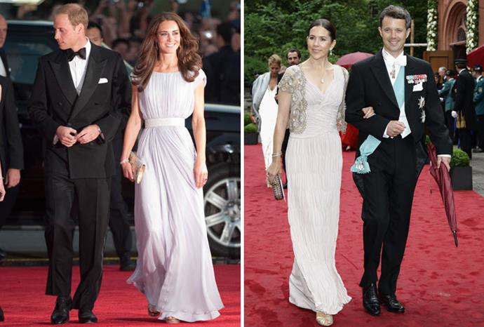 Red carpet: Mary and Kate chose pastel colours in June this year.