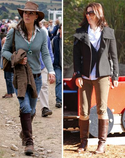Equestrienne chic: Kate in 2005 and Mary in 2008.