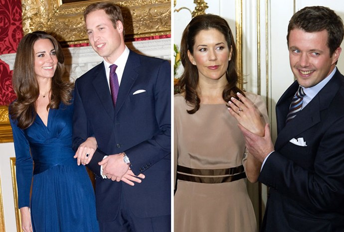 Engagement dresses: Kate in 2010 and Mary in 2003.