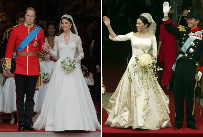 Wedding dresses: Kate in April and Mary in 2004.