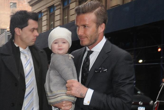 Harper with dapper dad David in February 2012.