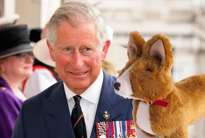 Prince Charles and the stuffed toy corgi he is selling.