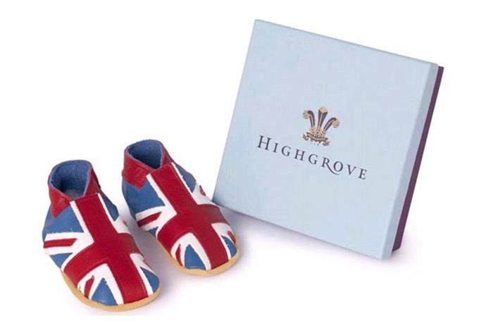 The Union Jack baby shoes cost $35.