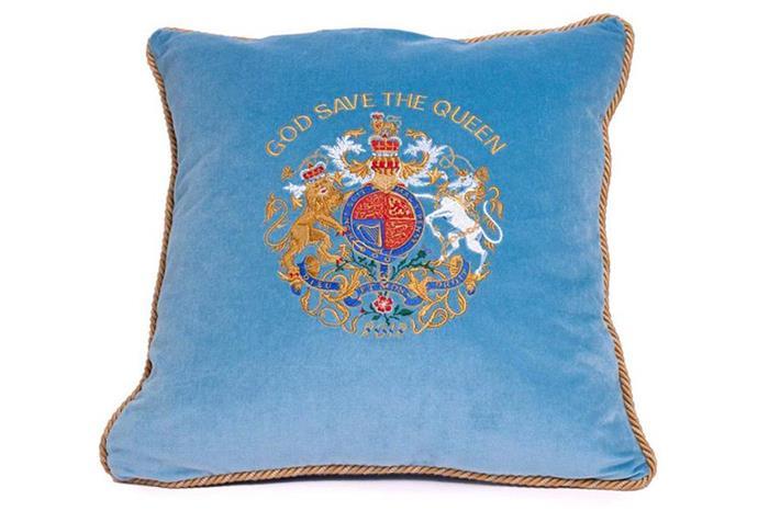 This blue velvet cushion sells for $150.