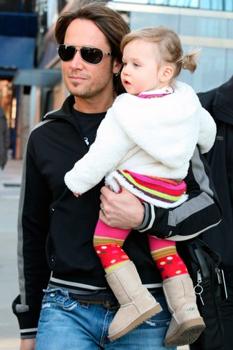Keith with daughter Sunday Rose in 2009.