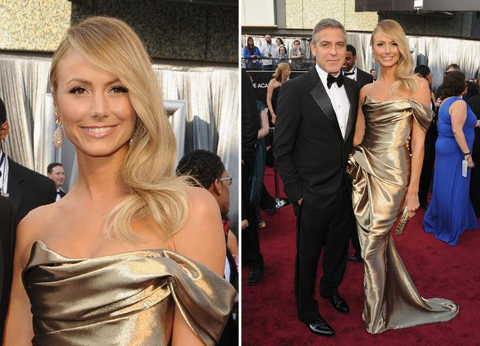 George Clooney in Giorgio Armani and Stacy Keibler in Marchesa.