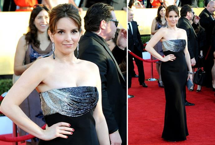 Tina Fey in vintage Versace.