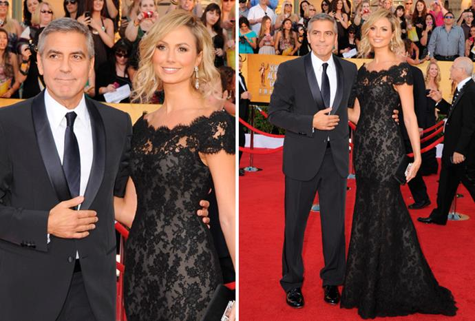 George Clooney's girlfriend Stacy Keibler in Marchesa.