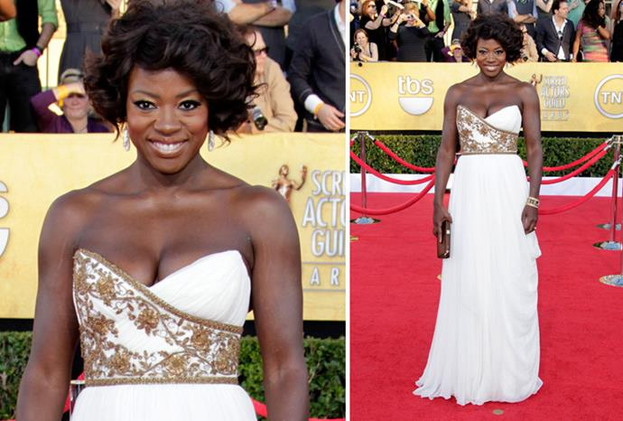 *The Help* star Viola Davis in Marchesa.