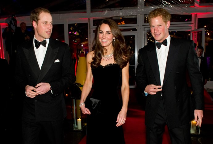 William, Kate and Harry walk the red carpet.