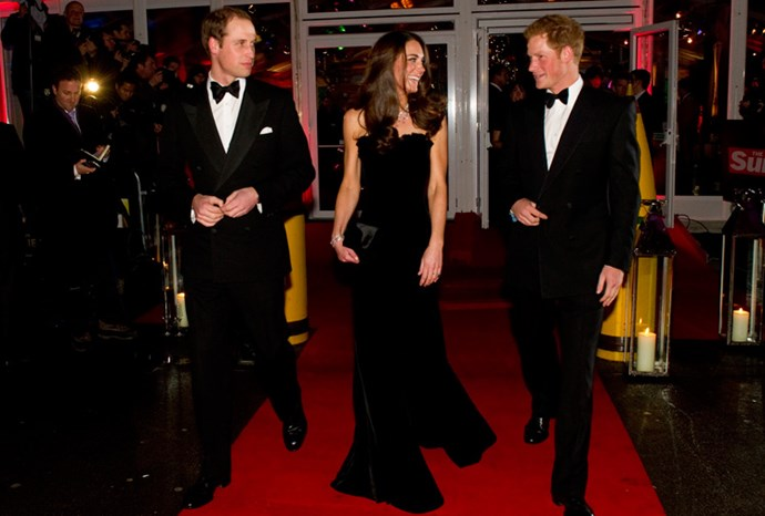 The young royals make their way into the awards ceremony.