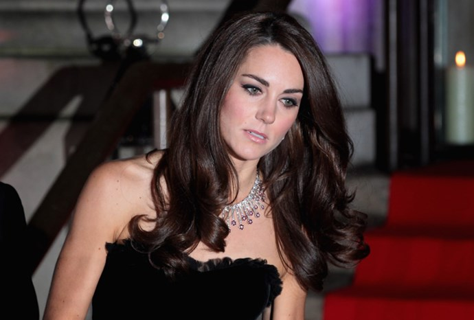 Kate wore a diamond necklace she received as a wedding present.