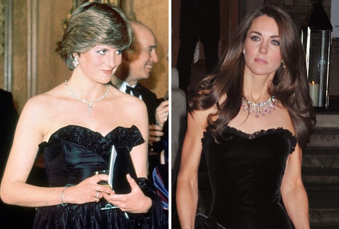Kate's dress was similar to one Princess Diana wore on her first public engagement.