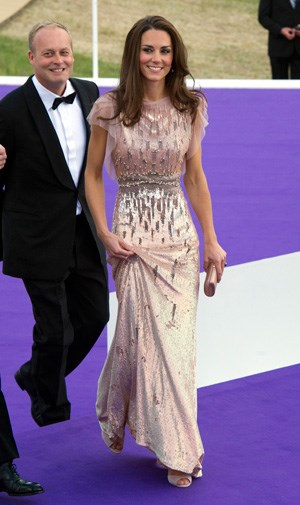 Kate Middleton in Jenny Packham at a charity gala in June.