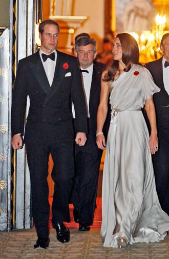 Kate in a Grecian-style Jenny Packham gown in November 2011.