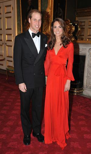 Kate in a stunning red Beulah dress at a dinner in October 2011.