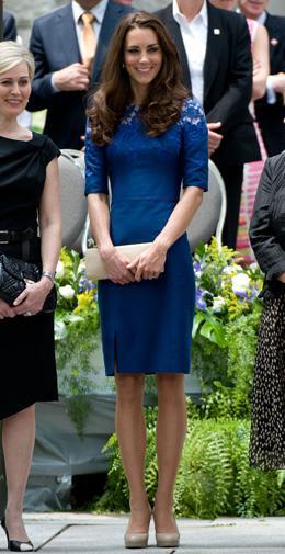 Kate in a figure-hugging Erdem dress in Canada in July 2011.