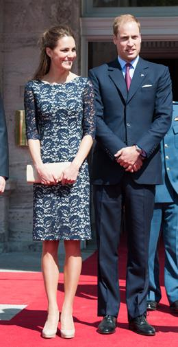 Kate in another lace Erdem dress in Canada in July 2011.