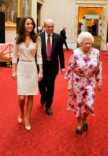 Kate in a Joseph dress with Queen Elizabeth in July 2011.