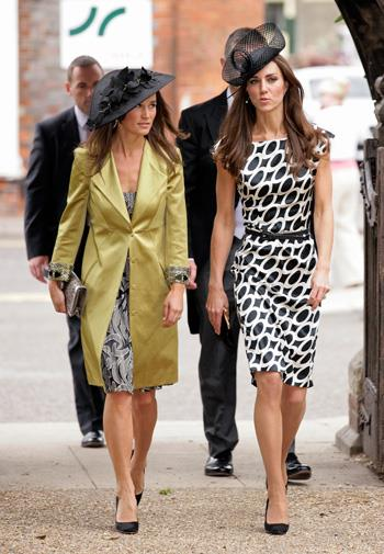 Kate attends a wedding with sister Pippa in June 2011.