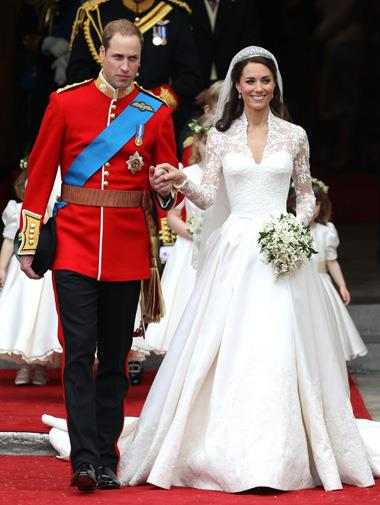 Kate Middleton in her Alexander McQueen wedding gown in April.