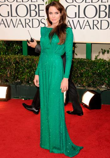 Angelina Jolie in Atelier Versace at the Golden Globes in January.