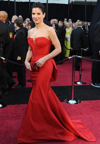 Sandra Bullock in Vera Wang at the Oscars.