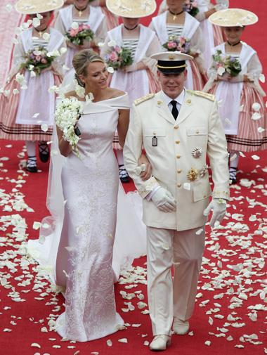 Charlene Wittstock's couture Giorgio Armani wedding gown in July.