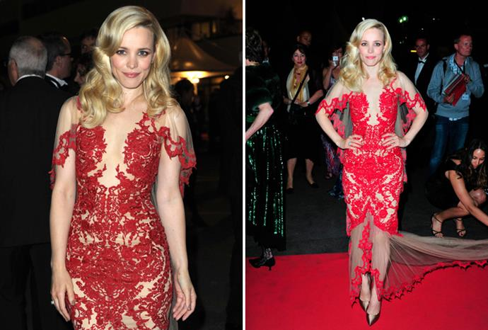Rachel McAdams in Marchesa at the premiere of *Midnight in Paris* in Cannes.