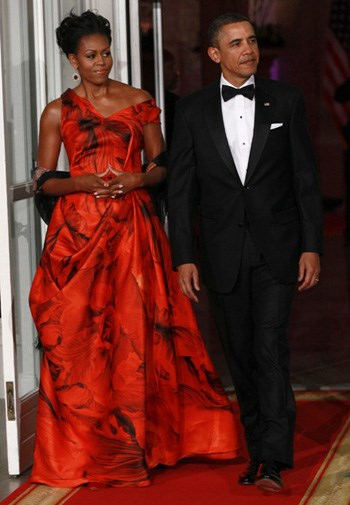 Michelle Obama in Alexander McQueen at a state dinner in January.