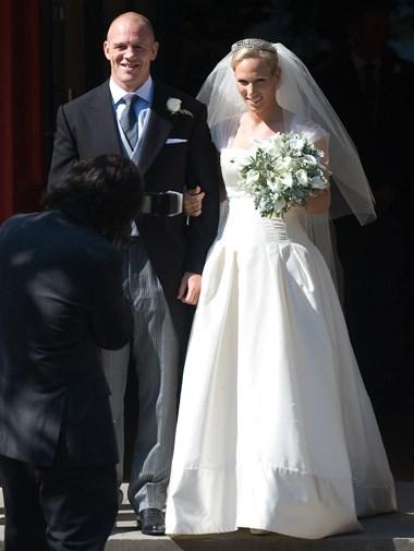 Zara Phillips in her Stewart Parvin wedding gown in July.