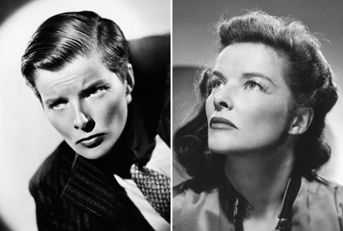 Katharine Hepburn wore men's clothing in *Sylvia Scarlett*.