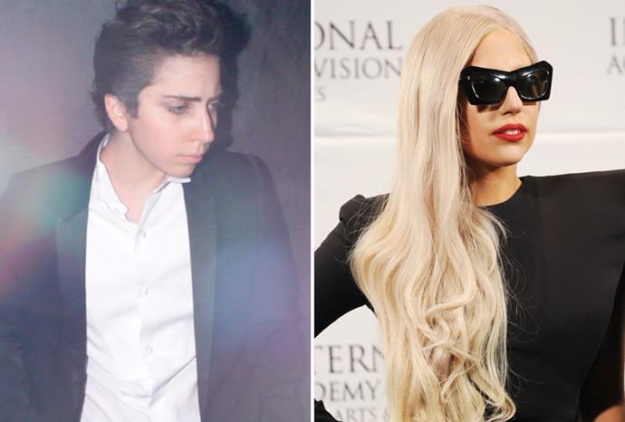 Lady Gaga has a male alter-ego called Jo Calderone (left).