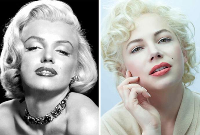 Michelle Williams (r) as Marilyn Monroe (l) in *My Week with Marilyn*.
