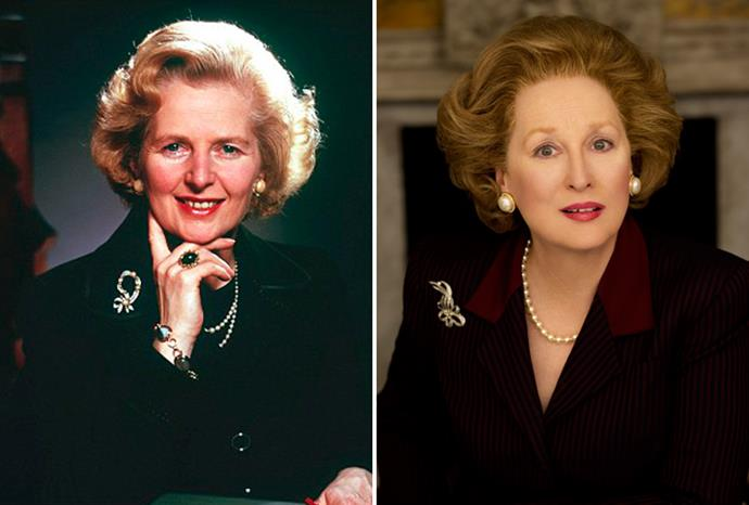 Meryl Streep (r) as legendary British PM Margaret Thatcher (l) in *The Iron Lady*.