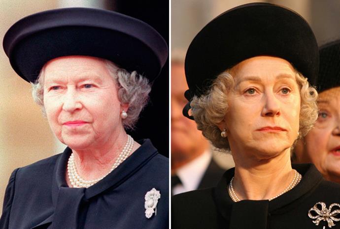 Helen Mirren (r) played Queen Elizabeth (l) in 2006's *The Queen*.