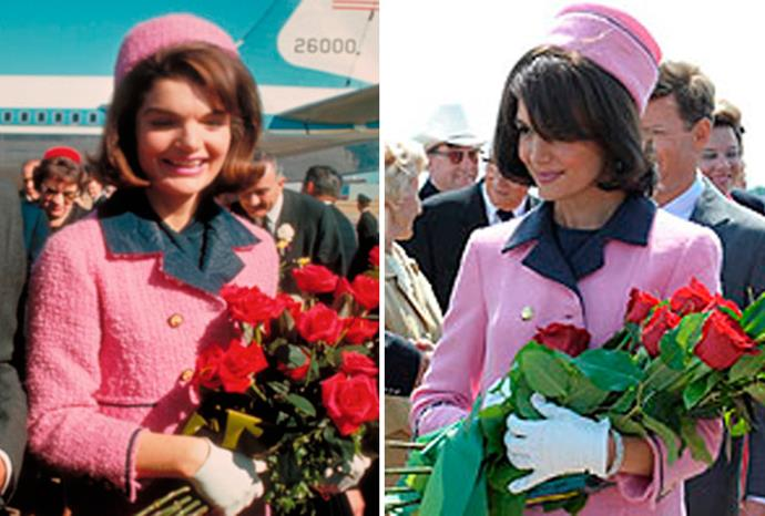 Katie Holmes (r) as Jacqueline Kennedy (l) in TV miniseries *The Kennedys*.